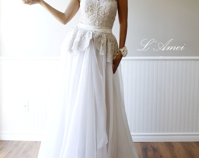 Long Handmade Beaded white Lace Boho Beach Wedding Dress, A-Line Floor length bridal Gown Design by LAmei