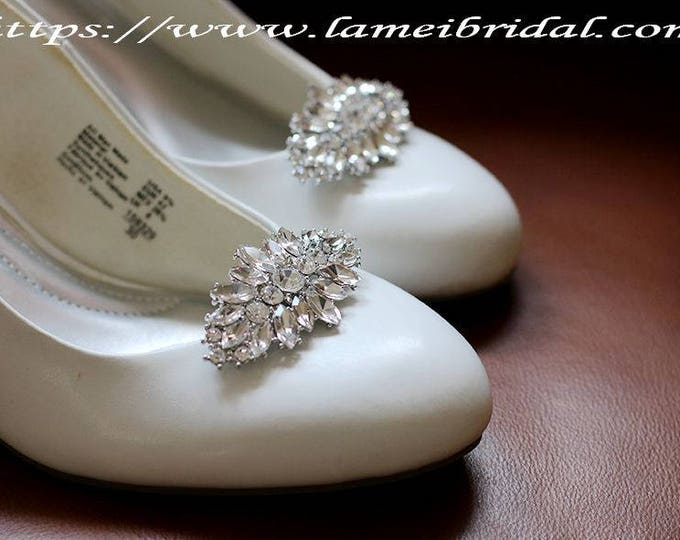2pcs Elegant Crystal Rhinestone Wedding Bridal Shoe Clips