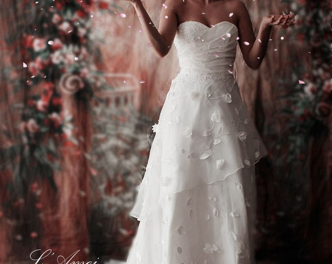 CLEARANCE - Gorgeous Long Ivory Wedding Gown with Handmade Sewn Flowers and Beaded Leaves