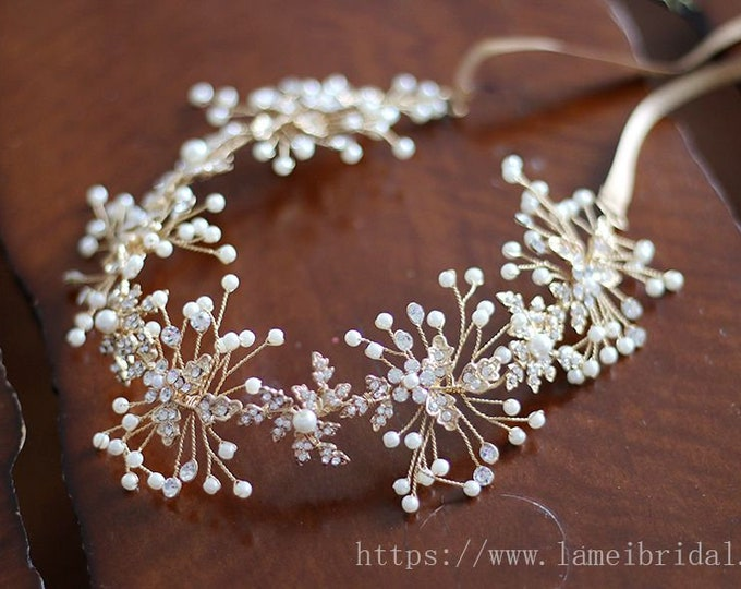 Forest Princess wedding Headband,Floral Bridal Circlet white Small Wild Flower Wedding Crown ,Gold wedding Headpiece,Bridal head Accessory