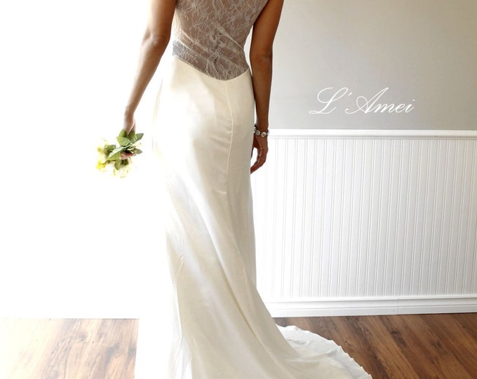 Simple and Elegant Deep V Neck Lace Wedding Bridal Dress Gown with Hand Beading and Open lace Back