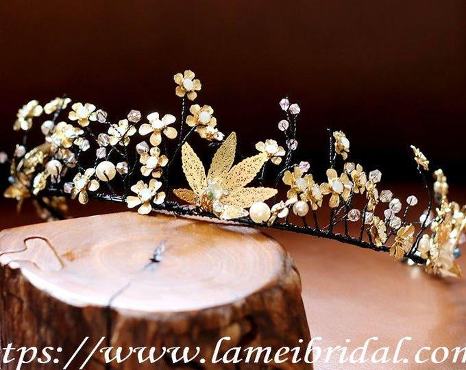 Princess Gold and black Wedding hair crown ,Black Crown ,Black bridal Tiara , Black bridal crown,Gothic Tiara Evil Queen crown