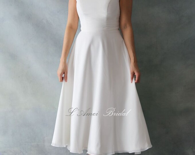 Simple Tea Length Wedding or Bridesmaid Dress. Also available in Plus Size