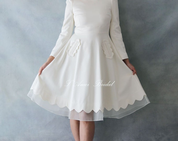 CLEARANCE - Modest Retro 50s Knee Length A-line Ivory white Wedding Dress with Long Sleeves and Curved neckline