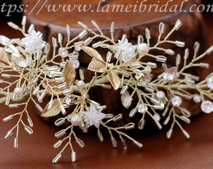Woodland Queen Gold Wedding hair vine, Leaf Bridal Tiara,wedding Headpiece with gold leaf ,Bridal leaf crown ,crystal hair accessory
