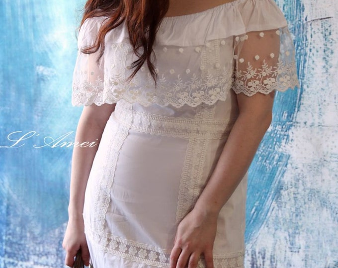CLEARANCE - Dreamy Off Shoulder Cotton and Lace Boho Wedding Dress - AM 0127539