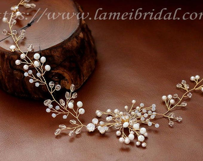 Wedding Hair Vine, Gold Flower and Leaf Bridal Headpiece, Wedding Hair Accessory, white beads Hair Rustic Wedding Headband, Boho hair vine