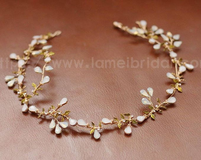 Crystal hair vine ,beaded hair vine ,Gold Maple leaf bridal hair vine, bridal headband, crystal headband ,Gold hair vine ,bridal hair wreath