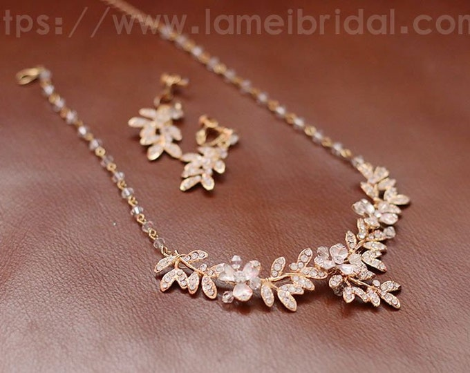 Crystal Leaf Wedding Bridal Necklace and Earrings set - Zircon Rhinestone and Pearl for wedding