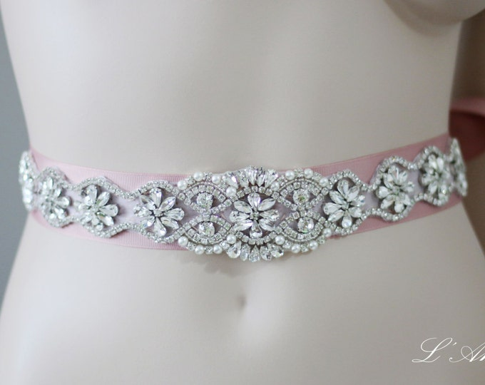 Rhinestone Bridal Belt Wedding Sash - AM 5850 - Long Crystal Wedding Belt, Bridal Accessory made of Crystal Rhinestones