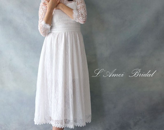CLEARANCE - Custom Alice in the Garden Long Sleeved Vintage Style Lace Wedding Dress Perfect for Beach or Woodland Wedding - AM1982780