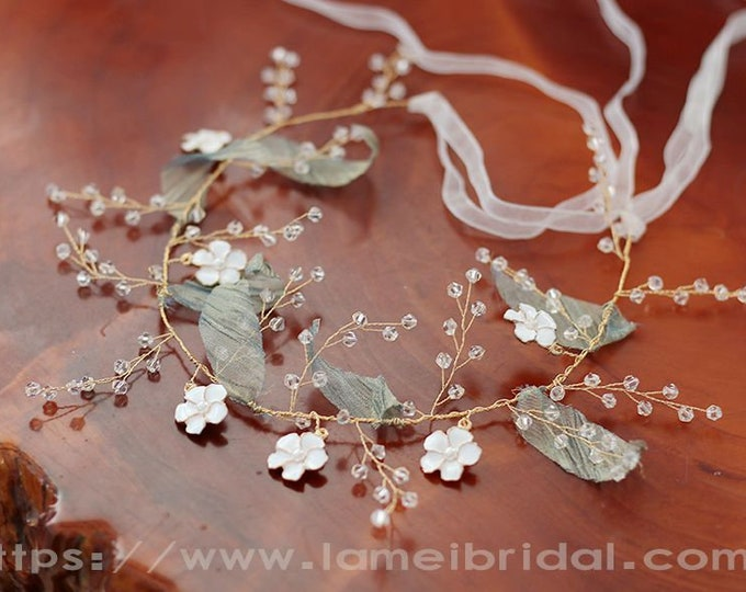 Boho Light Mint Green and Ivory white flower crown, floral bridal headdress,  fairy flower crown,  bridal Green Leaf hair Vine, Bridal Tiara