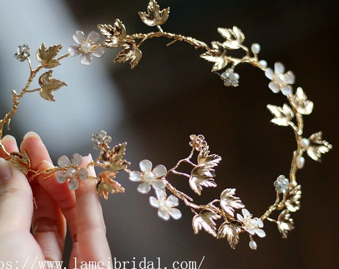 Golden leaf Wedding Bridal Tiara, wedding Headpiece with gold leaf ,Bridal leaf crown ,Bridal headpiece - Greek hair accessory hair vine