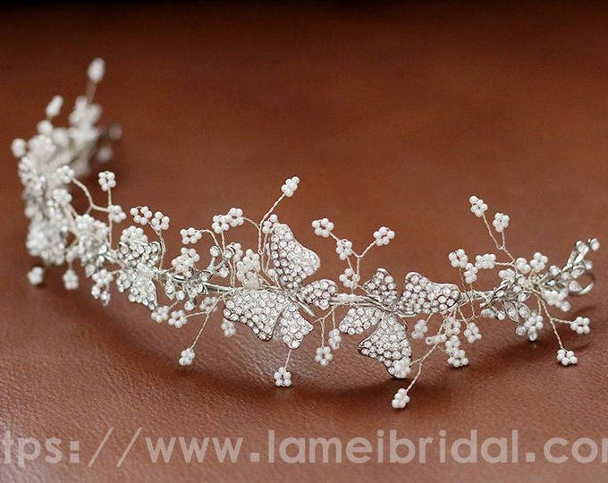 Silver white butterfly Wedding hair Vine Woodland Wedding Headpiece butterfly beads, rhinestones, Wedding Hair Accessory, silverBridal Tiara