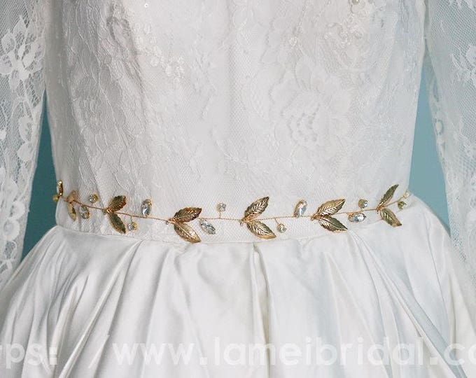 Golden Goddess Wedding dress belt,  Golden Leaves and Crystal Glass Elements, Gold wedding dress sash belt