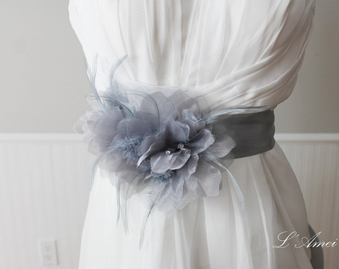 Handmade Light Grey Flower Wedding dress Sash, grey Bridal Belt with Flower and Feathers