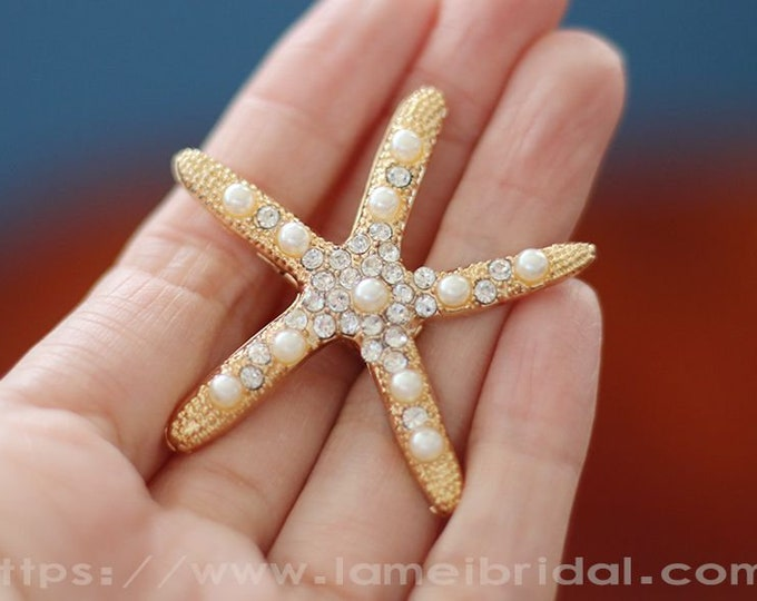 Starfish hair clip branchesand, Hair Pin Accessories, starfish Pearl Bobby Pins,Gold wedding hair clip, Beach wedding small hair comb