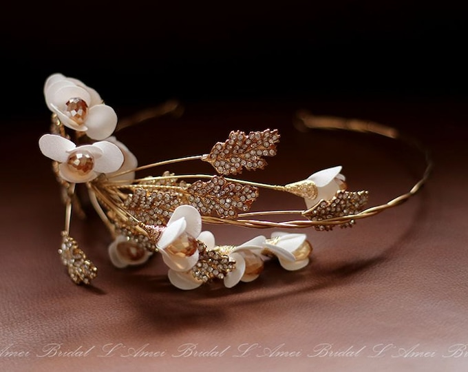 Bridal boho flower crown, floral bridal headdress, Golden wedding flower vine, bridal flower crown, boho bridal headband,Gold Flower Vine