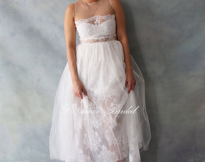 CLEARANCE - Custom Tea Length Lace and Soft Tulle Wedding dress ,Sexy See Through top Boho wedding dress  -  AM 1983680