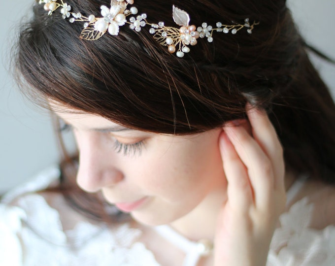 Golden Tiara Circlet Bridal Wedding Crown made with Small Flowers ,Rustic Wedding Hair Vine of Wired Pearls and Brass Flowers