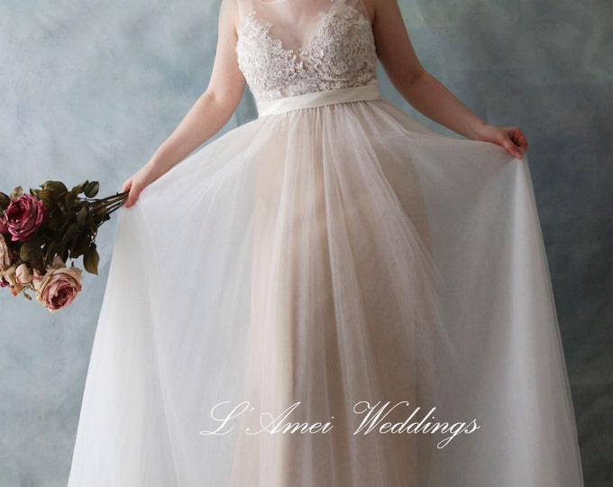Clearance- Romantic Peach Backless Boho Lace Wedding Dress Great for  Beach Wedding- AM 7896200