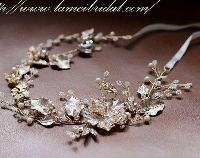 Golden Tiara Circlet Bridal Wedding Crown made with Rhinestone ,Rustic Wedding Hair Vine of Wired Flowers, Leaf Gold Bridal tiara