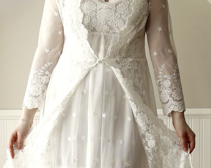 Princess Kathryn Long Sleeved Silk Chiffon Embroidered Lace Boho/Beach/Woodland Wedding Dress New Design by LAmei MX7982912978