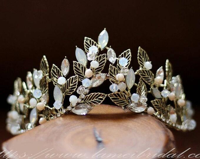 Woodland Princess Nostalgic gold Wedding hair crown , Gold leaf Crown ,Gold bridal Tiara , Baroque crown,Gothic Tiara Evil Queen crown