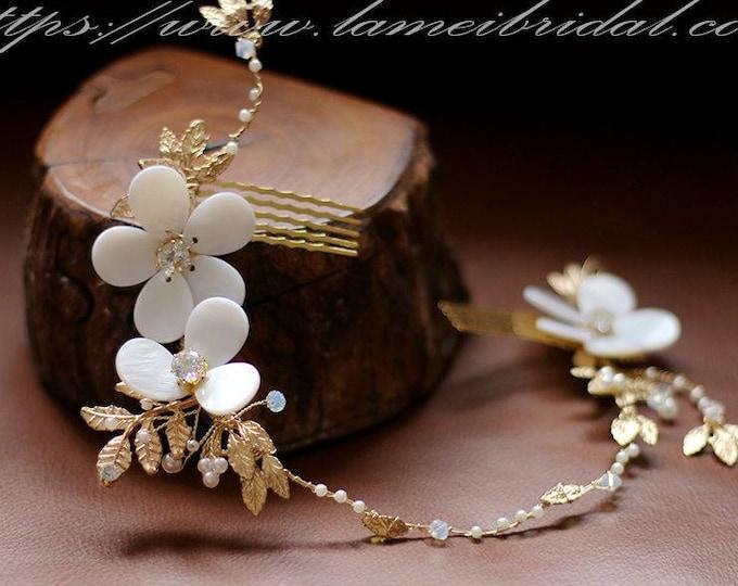 Clearance-Gold Bridal Hair Vine Comb, Boho Rhinestone Headpiece, Beach wedding Headband,Gold hair vine,  hair vine,crystal bridal headpiece