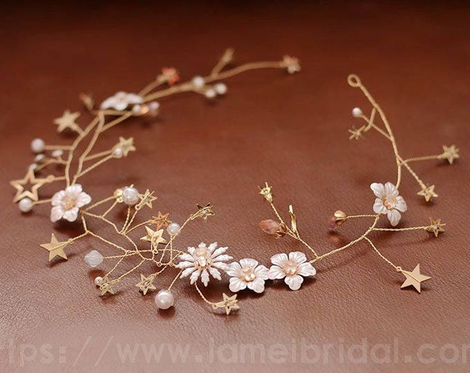 Fall Rustic Flower Wedding Circlet Crown Headpiece Autumn Bridal Hair Accessory Bridal headpiece Bridal vine