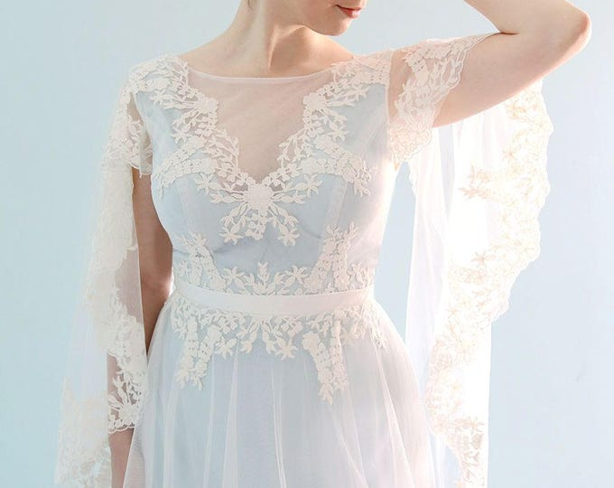 Adorable Fantasy Sky Blue A-Line Style Dress with Illusion Neckline and Short Lace Edged Cape