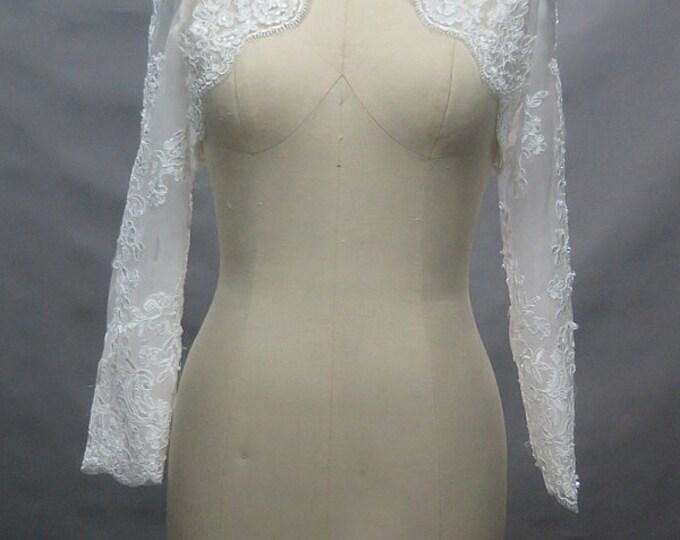 Long Sleeve French Lace Bridal Bolero Shrug Wedding Jacket Available in Ivory-White or Pure White