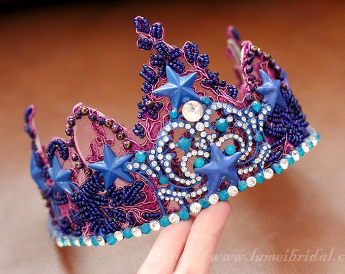 Blue and purple lace starfish wedding head crown , bridal headpiece, Beach wedding starfish crown -Starfish Hair Tiaras, prom dress crown