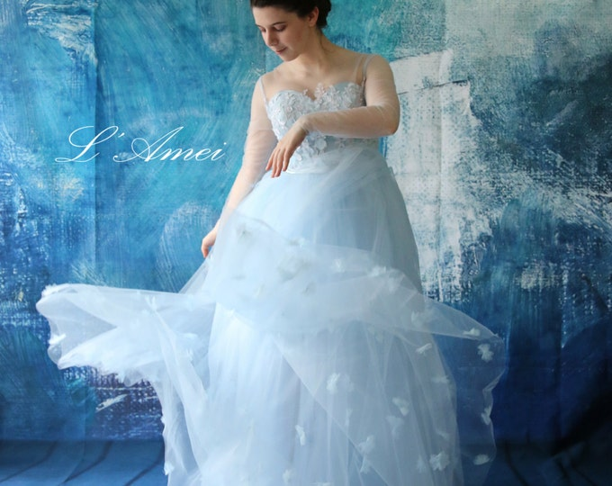 Classic Princess Style Floor length A-line flower tulle Gown in blue,Wedding Dress Grace Stunning Light Blue Wedding Dress  - AM 198105020