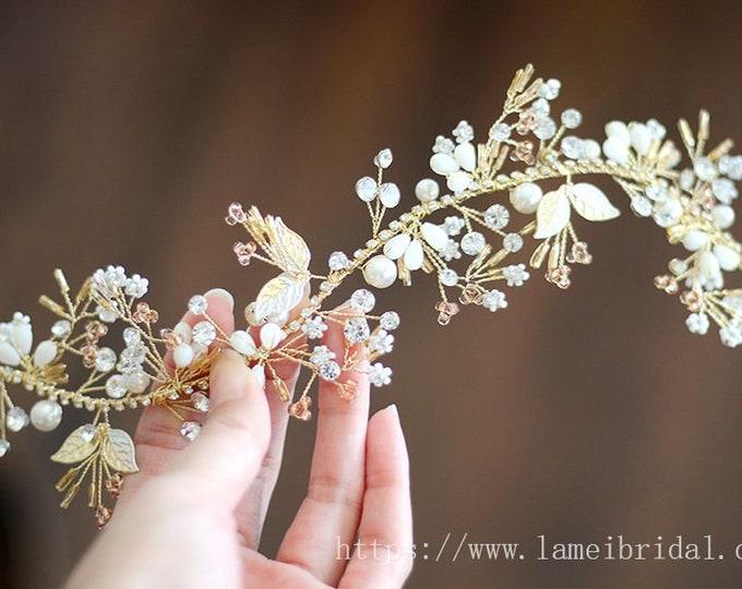 Golden leaf Wedding Bridal Tiara, wedding Headpiece with gold leaf ,Bridal leaf crown ,Bridal headpiece - Greek hair accessory hair vine