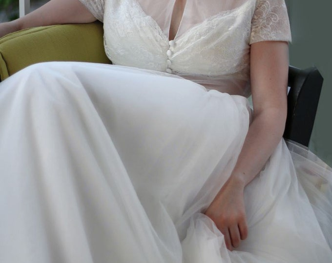 SALE Sexy Woodland Deep V Romantic  Wedding Dress with Soft Lace Sheer Top  and Short Sleeves - YS18968030