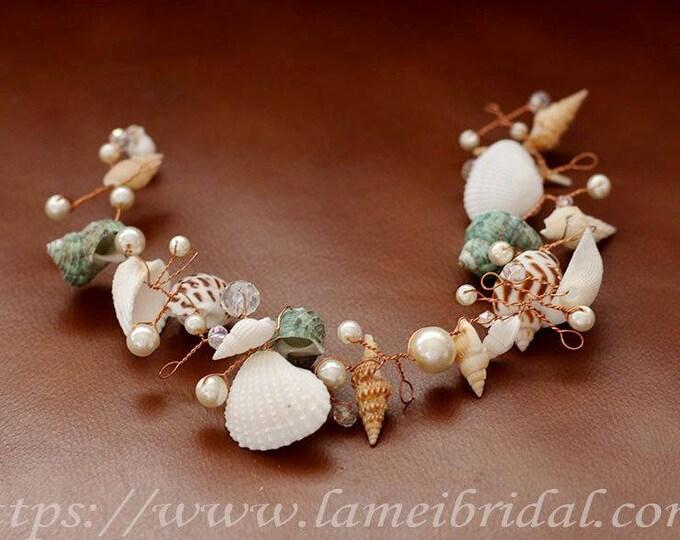 Seashell headband , Bridal Headpiece , Seashell hair vine ,Wedding Circlet Crown Perfect for Beach Wedding ,Mermaid headdress Ready to ship