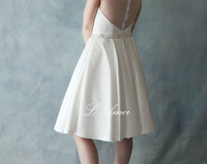 Short Satin Sheer Back Wedding Mini Dress with Bling Sash - Great for after Ceremony Festivities