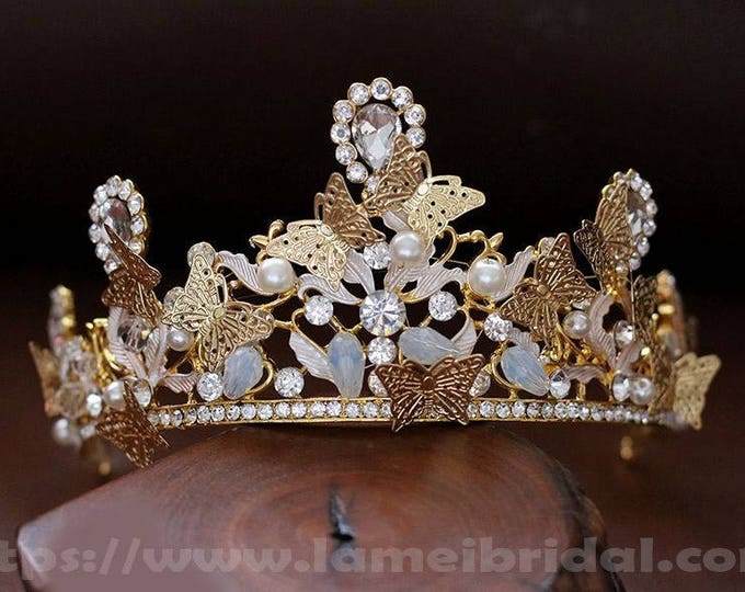 Woodland Princess Butterfly Gold and Silver Wedding crown , Gold Crown bridal Tiara , Silver butterfly crown,Gothic Tiara Evil Queen crown