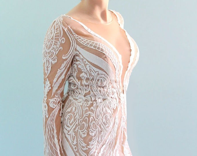High Quality Handmade Embroidered French Lace Deep V Wedding Dress with Long Sleeves and Low Back with Cathedral Train - LAmei 2017