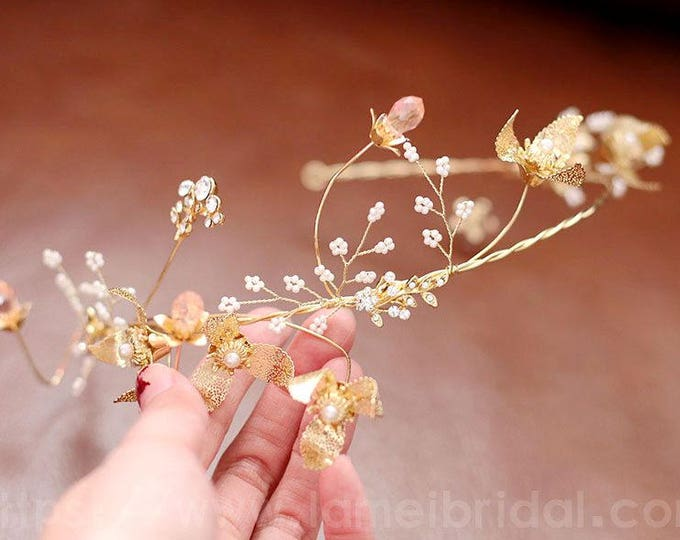 Woodland Gold Wedding Bridal headband Tiara,wedding Headpiece with gold leaf ,Flower and leaf crown ,Bridal headpiece - Greek hair accessory