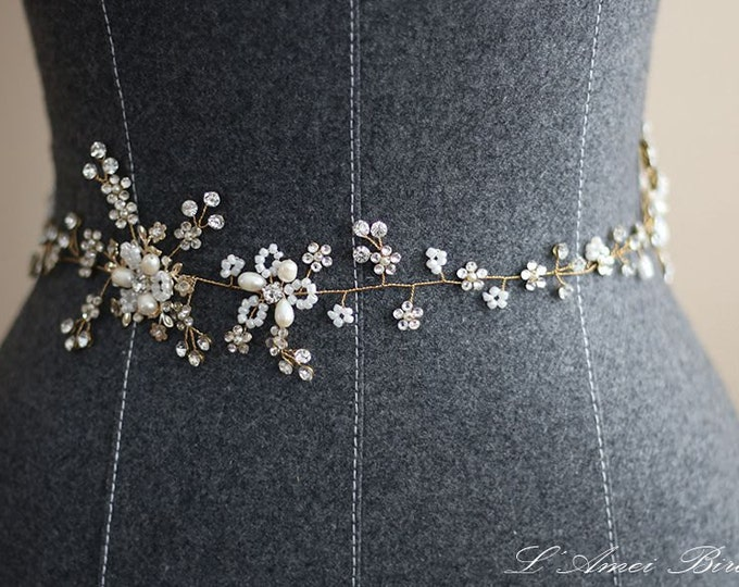 Bridal Sash Belt , Wedding Sash Belt , golden Crystal Rhinestone Sash Belt , pearl Wedding Sash , silver Bridal Belt , Bridal Sash