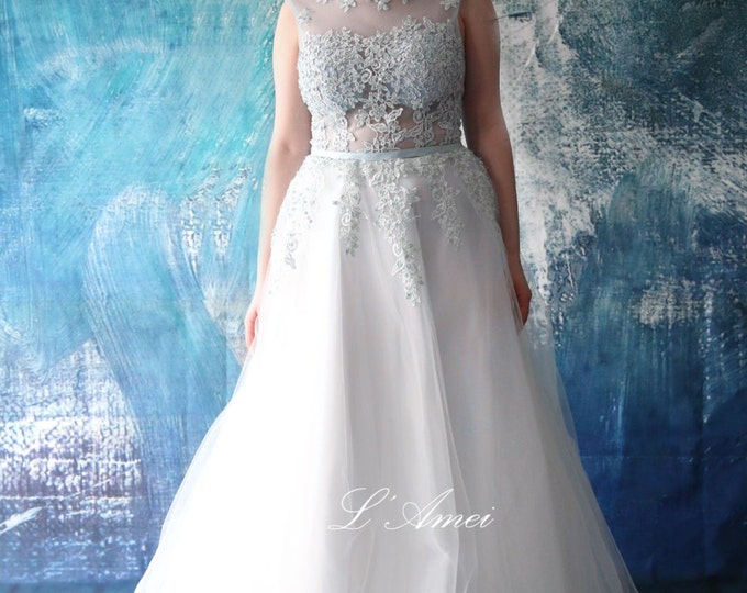 Stunning Light Blue Lace and Tulle Open Back Wedding Dress - Scoop neckline A-Line Floor length Tulle wedding dress -AM 1958020