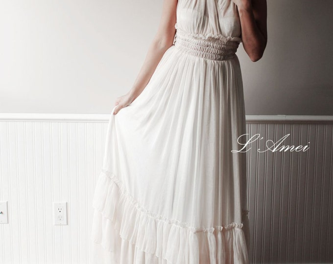 Custom Made Ivory  Beach Style Wedding Dress With Open back and Deep V Neck