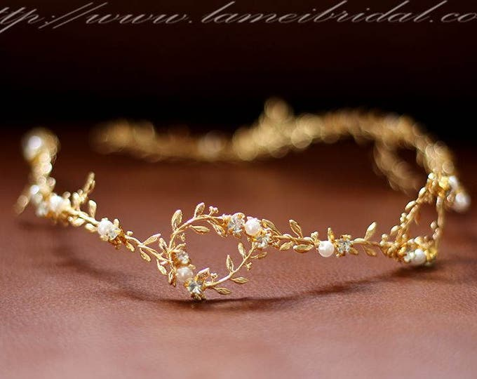 Silver white or Gold Goddess Wedding Crown, Gold bridal Circlet ,silver wedding head Wreath with small Leaves and pearls