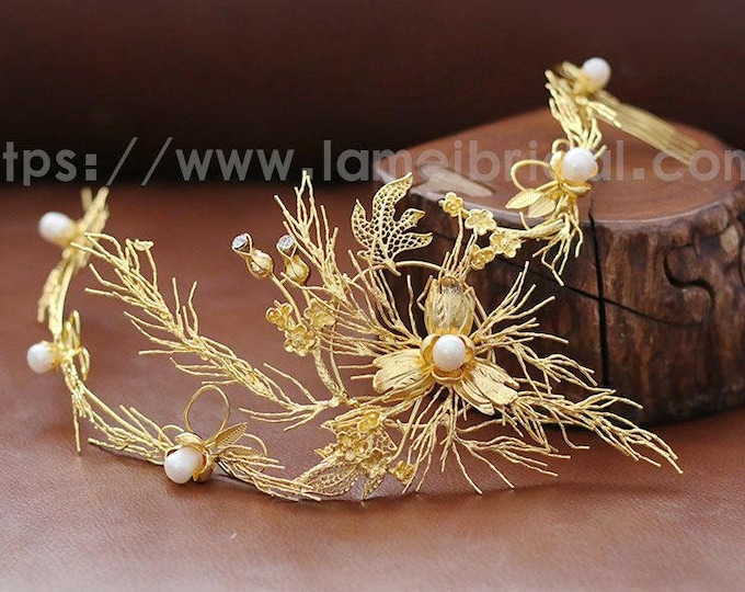 Bridal Gold Rhinestone Leaf Headpiece, Chic Gold Flower wedding Headband ,Formal Wear Wedding Tiara Diadem Crown, Leaf Bridal head Wreath