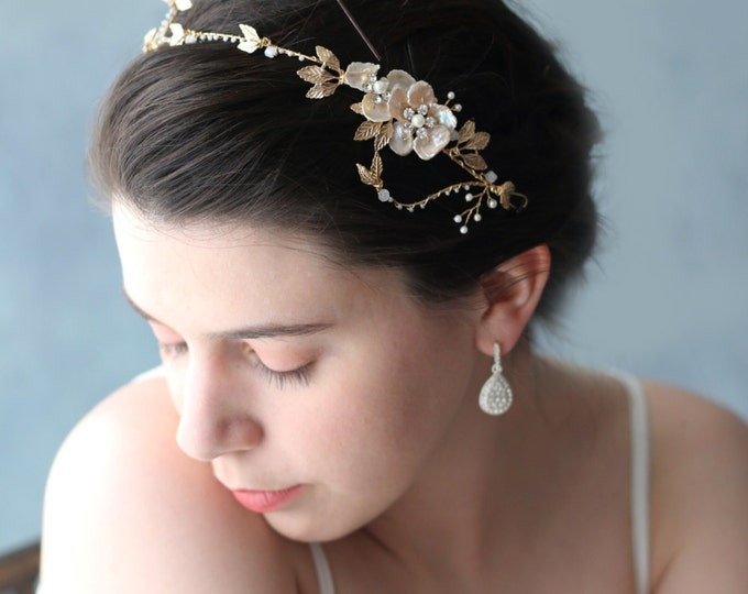 Golden Goddess Wedding Crown Circlet Tiaras with Golden Leaves and Small Flowers