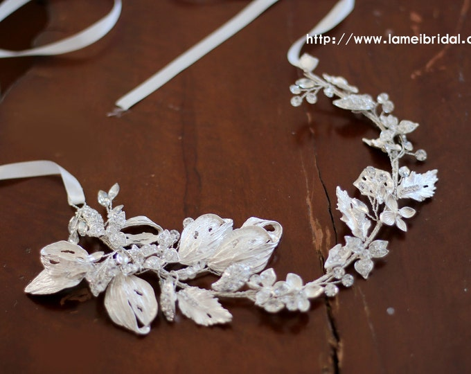 Vintage Style  Silver White Flower and Leaf Bridal headband, Crown Wedding Hair vine Circlet adorned with Rhinestones