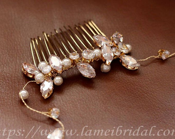 Gold Antique Style, Art Deco, Rhinestone, Champagne Bridal Comb, Gold Wedding Comb, Bridal Hairpiece, Golden Leaf Bridal Wedding Hair Comb
