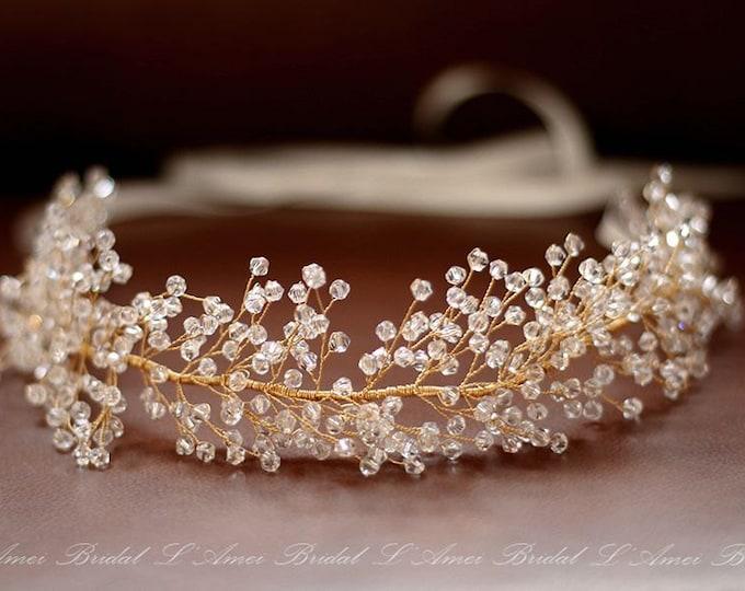 SALE-Heavy beaded golden Bridal hair vine, Gold wedding hair Halo, Bridal Hair Vine, Bridal Headpiece, Bridal Headband